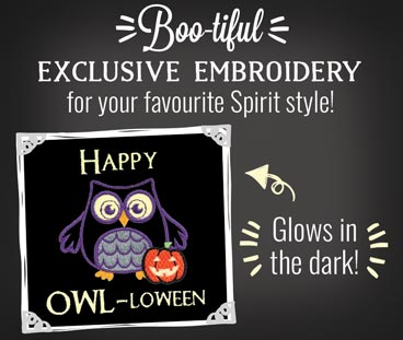 Boo-tiful: Exclusive embroidery for your favourite Spirit style! Glows in the Dark!