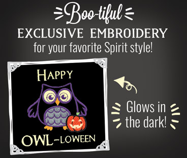 Boo-tiful: Exclusive embroidery for your favorite Spirit style! Glows in the Dark!