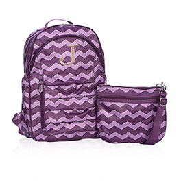 Her Deluxe Backpack in Plum Chevron - 4485