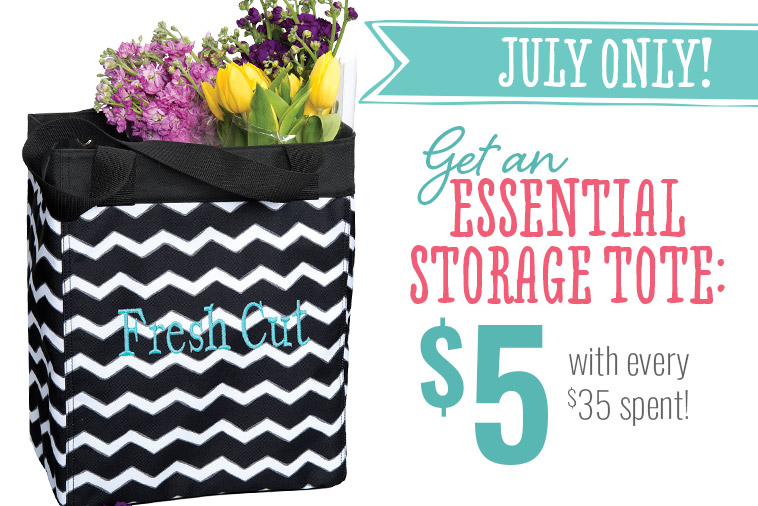July Only! Get an Essential Storage Tote: $5 with every $35 spent!