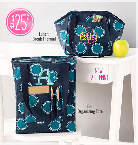 Lunch Break Thermal and Tall Organizing Tote in our New Fall Print