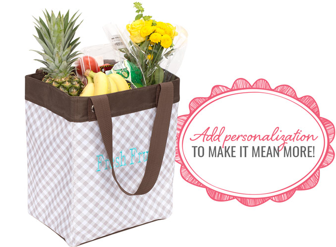 Essential Storage Tote in Taupe Gingham - Add personalization to make it mean more!