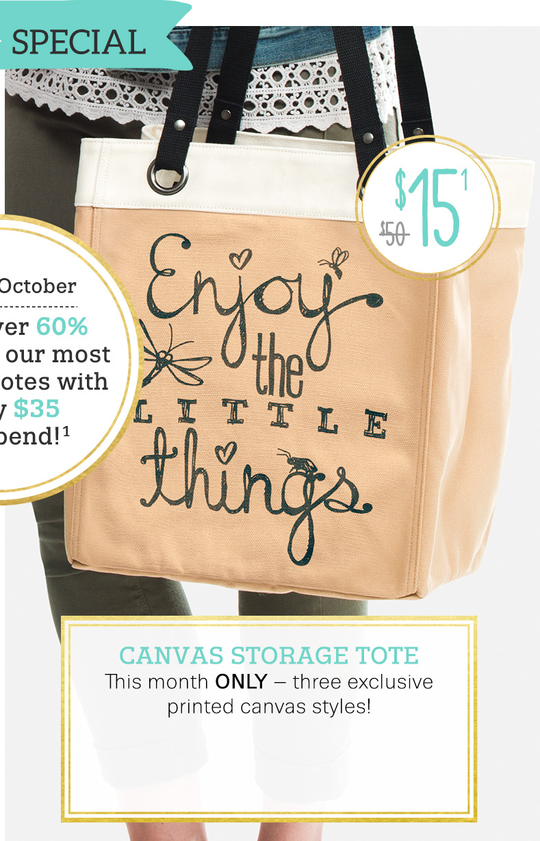 Canvas Storage Tote in Enjoy The Little Things