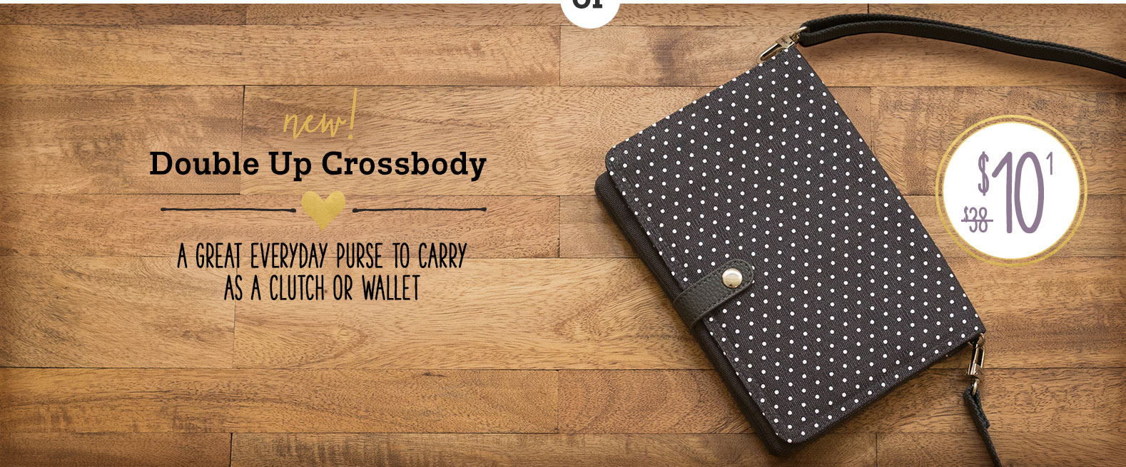 Double Up Crossbody in City Charcoal Swiss Dot